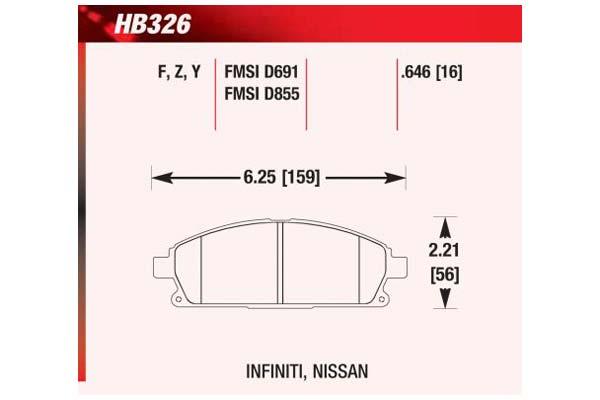 hawk brake pads diagrams HB326