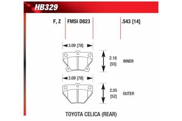 hawk brake pads diagrams HB329