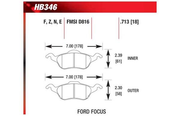 hawk brake pads diagrams HB346