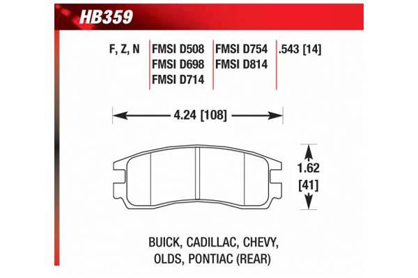 hawk brake pads diagrams HB359