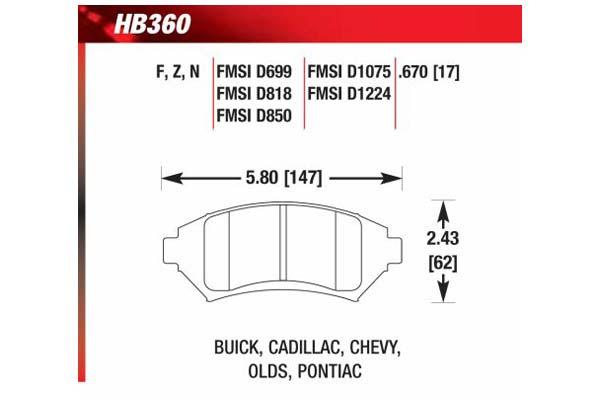 hawk brake pads diagrams HB360
