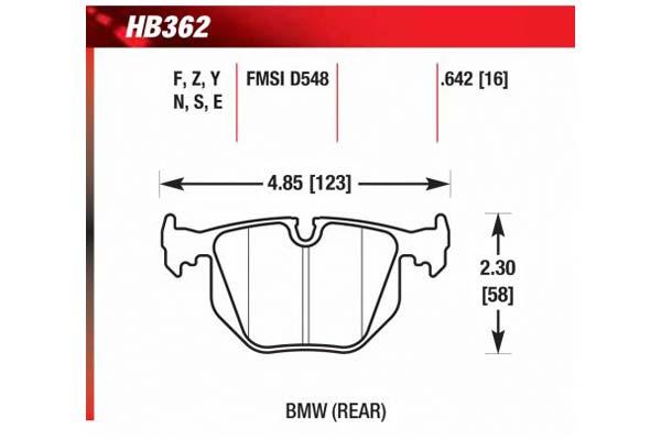 hawk brake pads diagrams HB362