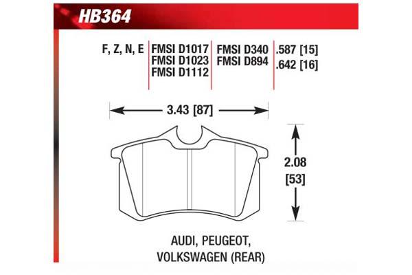 hawk brake pads diagrams HB364
