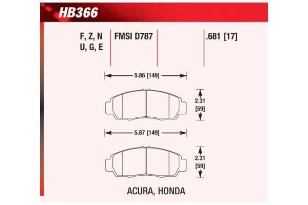 hawk brake pads diagrams HB366
