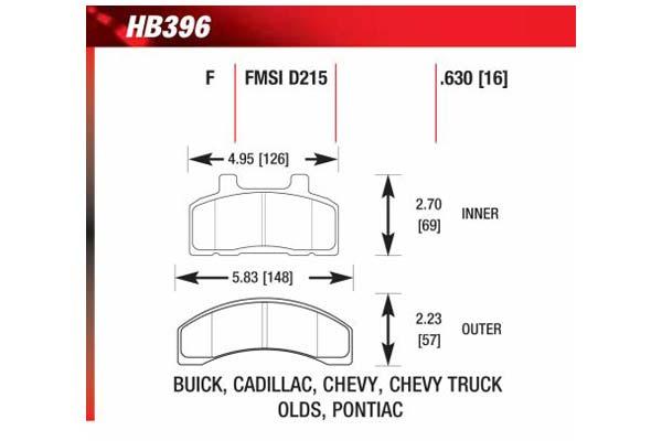 hawk brake pads diagrams HB396