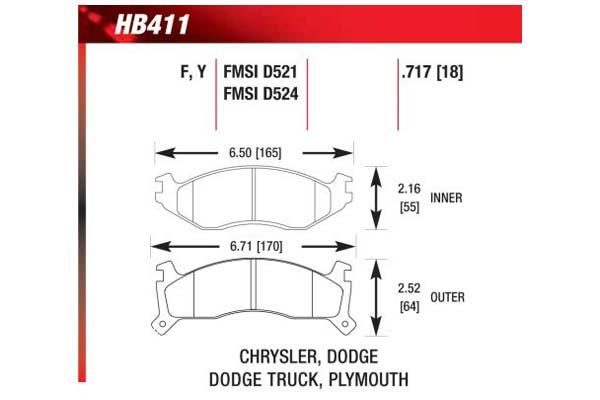hawk brake pads diagrams HB411