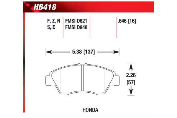 hawk brake pads diagrams HB418