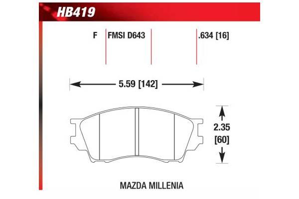 hawk brake pads diagrams HB419