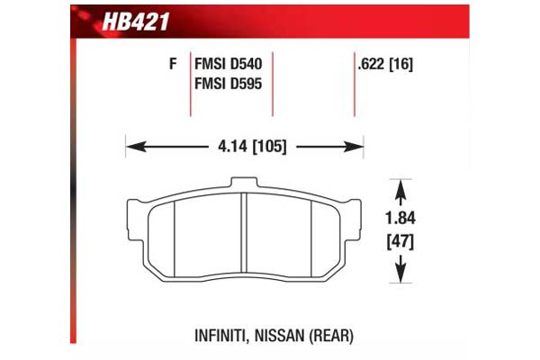 hawk brake pads diagrams HB421