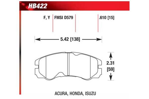 hawk brake pads diagrams HB422