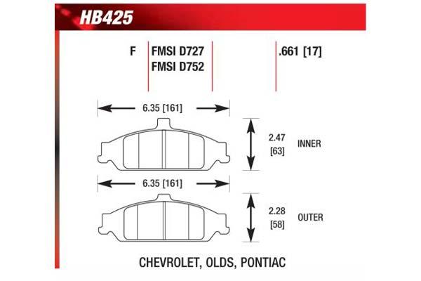 hawk brake pads diagrams HB425