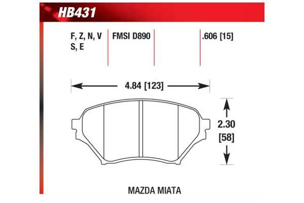 hawk brake pads diagrams HB431