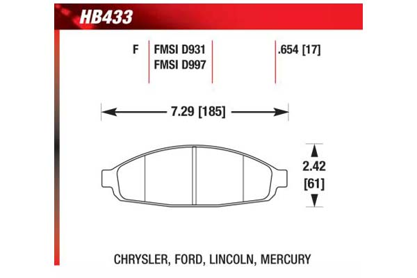 hawk brake pads diagrams HB433