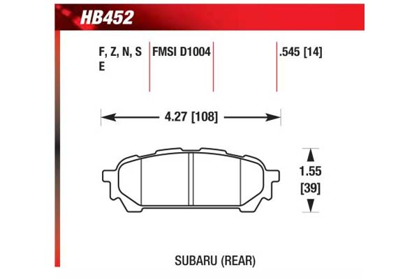hawk brake pads diagrams HB452