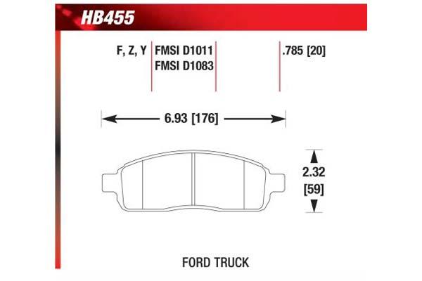 hawk brake pads diagrams HB455