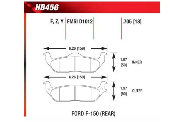 hawk brake pads diagrams HB456
