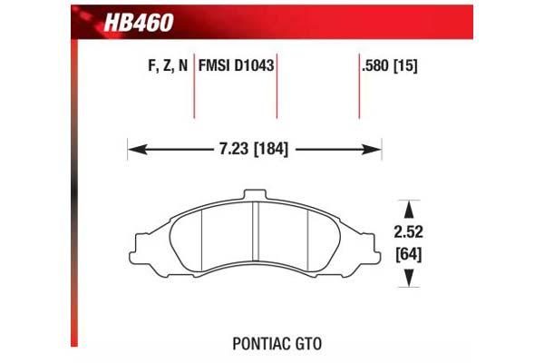 hawk brake pads diagrams HB460