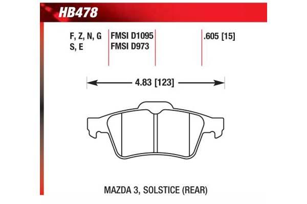 hawk brake pads diagrams HB478