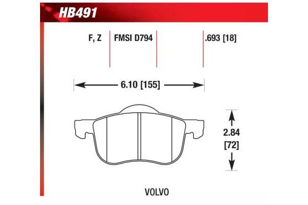 hawk brake pads diagrams HB491