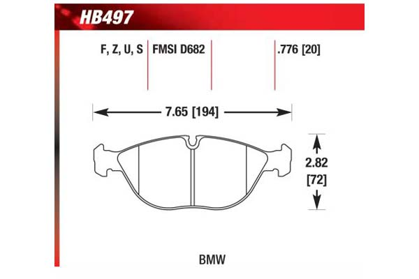 hawk brake pads diagrams HB497