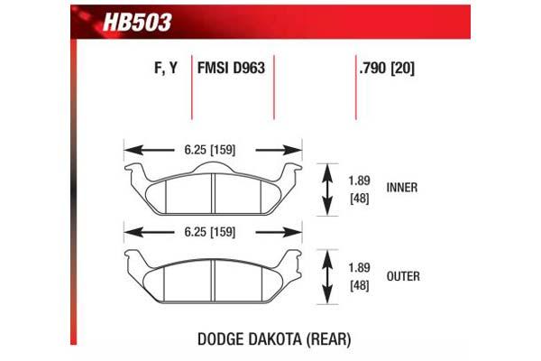 hawk brake pads diagrams HB503