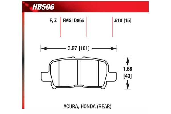 hawk brake pads diagrams HB506