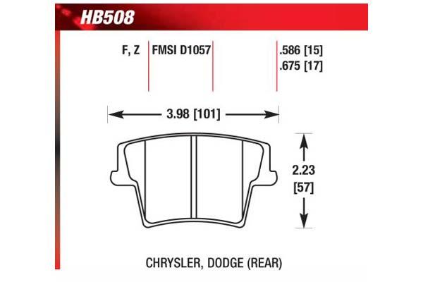 hawk brake pads diagrams HB508