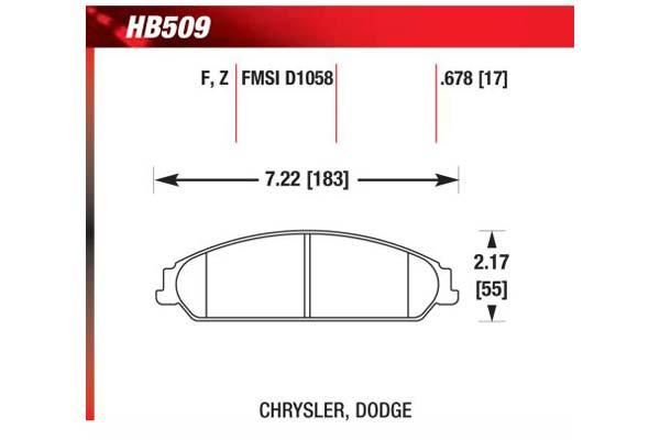 hawk brake pads diagrams HB509