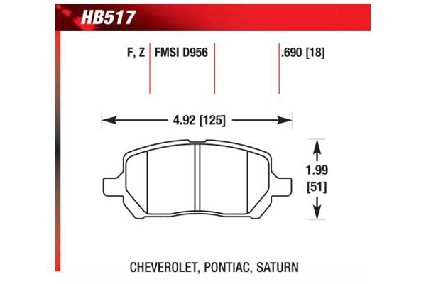 hawk brake pads diagrams HB517
