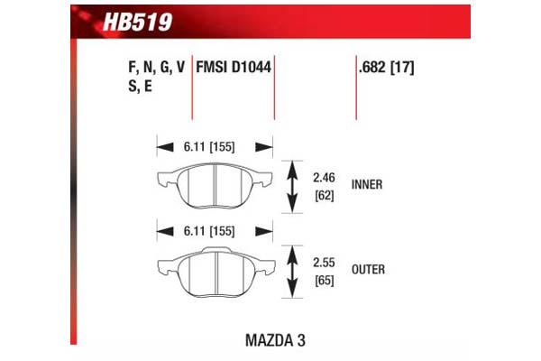hawk brake pads diagrams HB519