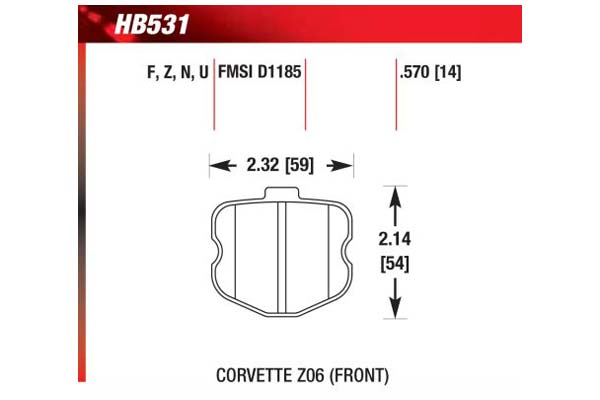 hawk brake pads diagrams HB531