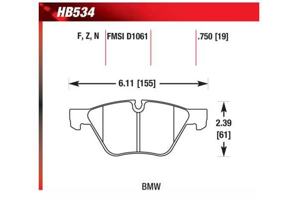 hawk brake pads diagrams HB534