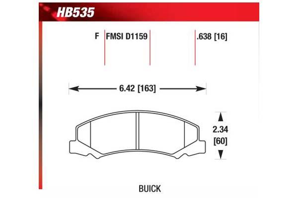 hawk brake pads diagrams HB535