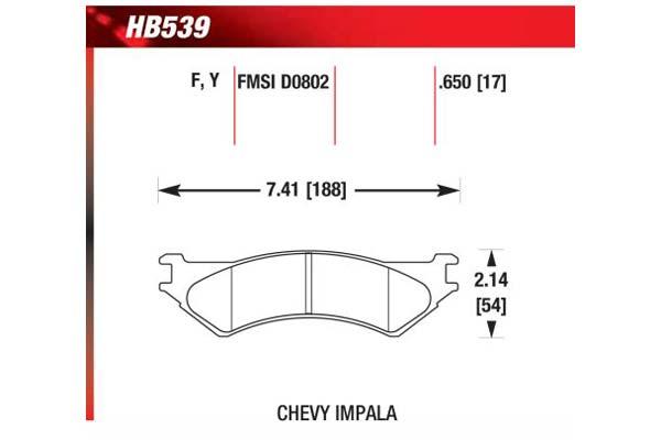 hawk brake pads diagrams HB539