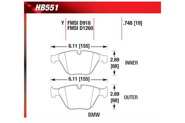 hawk brake pads diagrams HB551