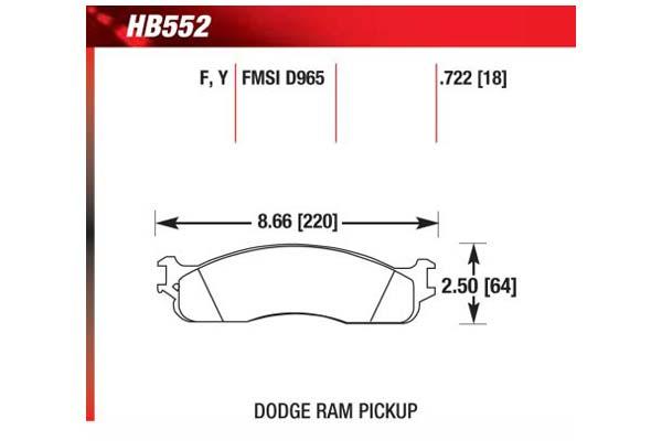 hawk brake pads diagrams HB552