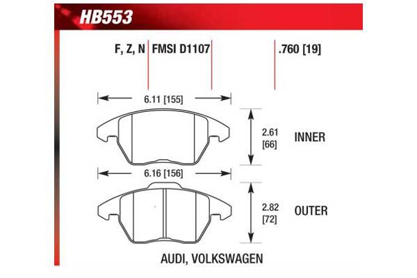 hawk brake pads diagrams HB553