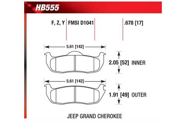 hawk brake pads diagrams HB555