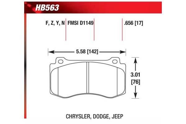 hawk brake pads diagrams HB563