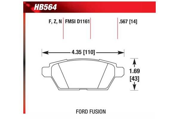 hawk brake pads diagrams HB564