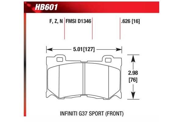 hawk brake pads diagrams HB601