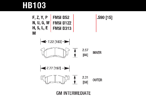 hawk brake pads tech spec diagram HB103