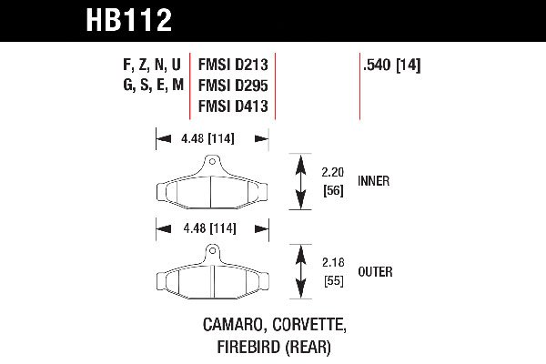 hawk brake pads tech spec diagram HB112