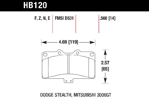 hawk brake pads tech spec diagram HB120