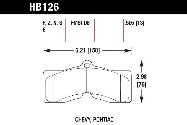 hawk brake pads tech spec diagram HB126