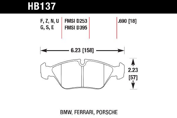 hawk brake pads tech spec diagram HB137