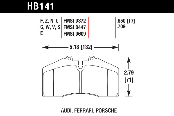 hawk brake pads tech spec diagram HB141