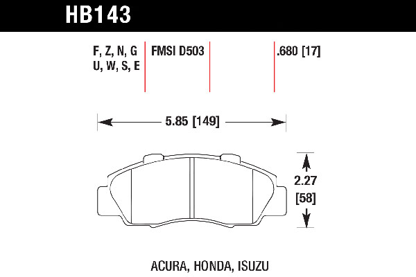 hawk brake pads tech spec diagram HB143