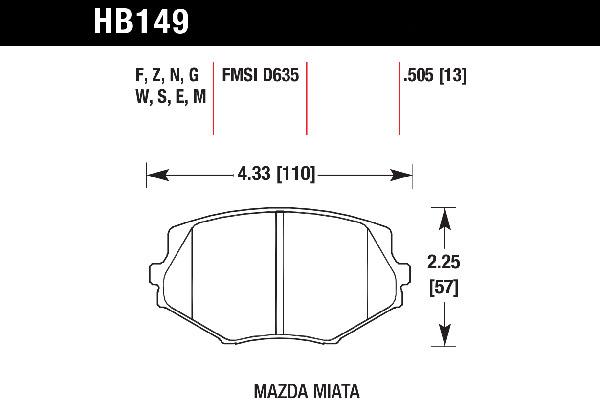 hawk brake pads tech spec diagram HB149