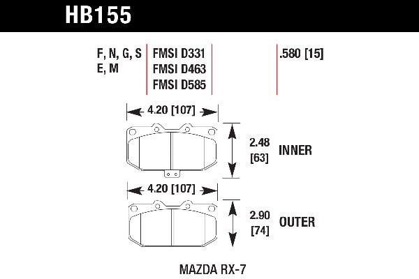 hawk brake pads tech spec diagram HB155